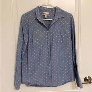 Polka dot Chambray Button Up